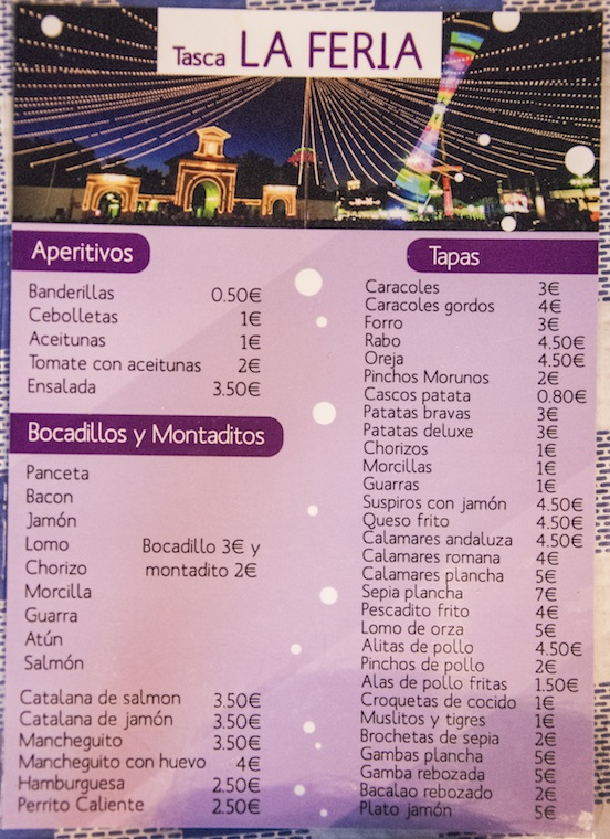 Menu della Feria, Albacete