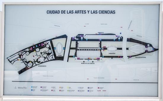 Cartina della città della scienza, Valencia